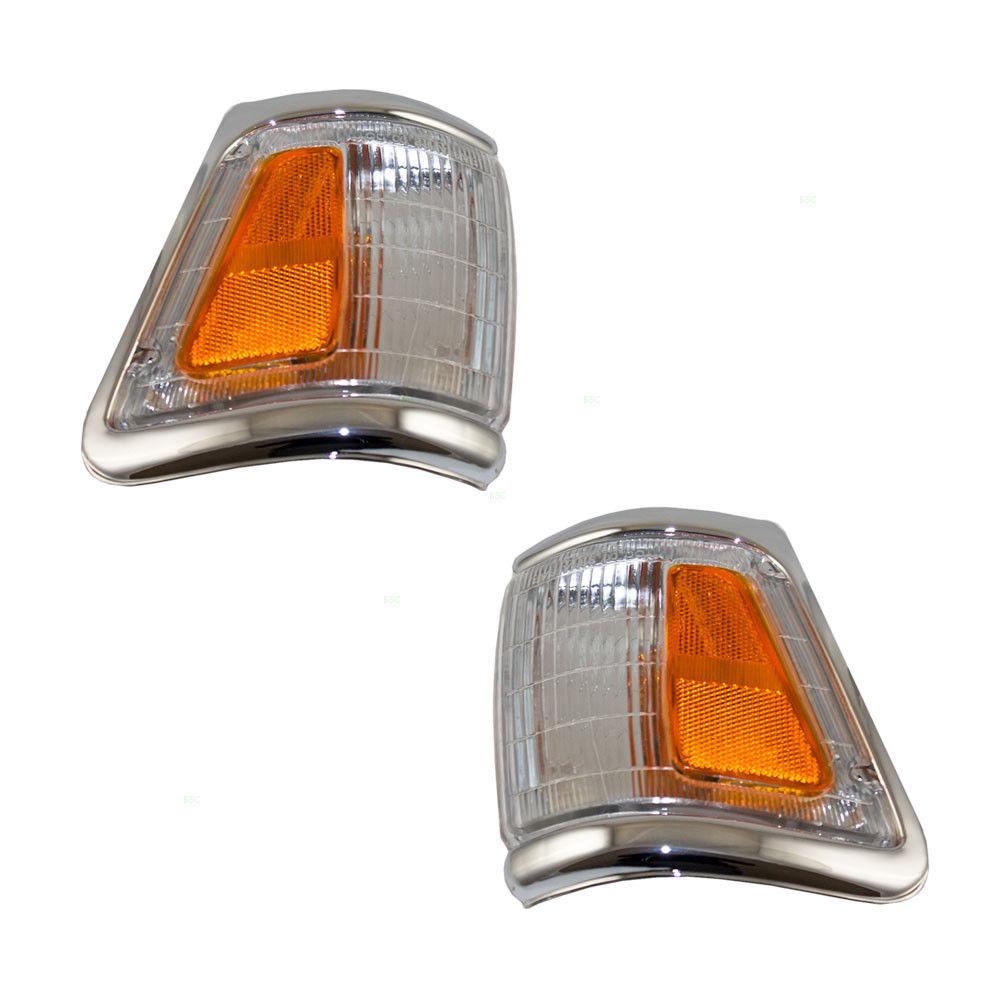 コーナーライト New Pair Set Park Signal Corner Lamp Chrome Trim for 92-95 Toyota Pickup Truck 新しいペアセットパーク信号コーナーランプクロムトリム92-95トヨタピックアップトラック用