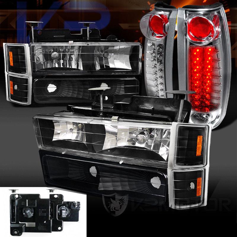 コーナーライト 94-98 Chevy C/K Tahoe Black Headlight Bumper Corner Lamps+Clear LED Tail Lights 94-98シボレーC / Kタホブラックヘッドライトバンパーコーナーランプ+クリアLEDテールライト
