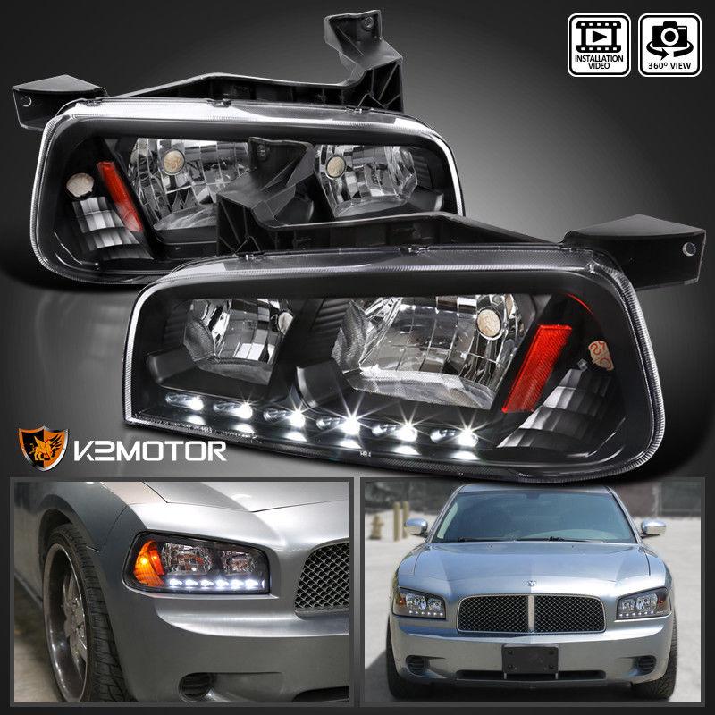 コーナーライト 2006-2010 Dodge Charger LED Headlights w/Built In Corner Signal Lights Black 2006-2010ダッジチャージャーLEDヘッドライト(コーナー信号ライト内蔵)ブラック