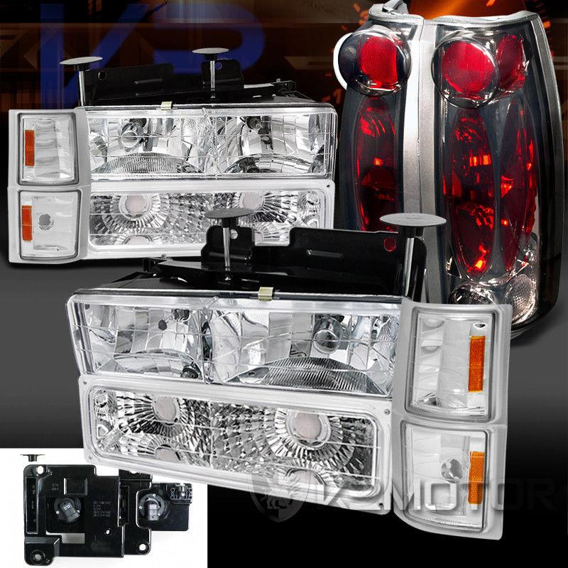 コーナーライト 94-98 Silverado Tahoe Chrome Headlight Bumper Corner Lamps+Smoke Tail Lights 94-98 Silverado Tahoeクロームヘッドライトバンパーコーナーランプ+煙テールライト