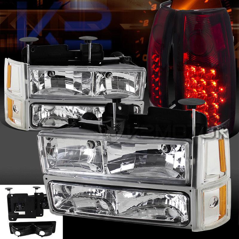 コーナーライト 94-98 GMC C10 Sierra Chrome Headlights Bumper Corner Lights+Red LED Tail Lamps 94-98 GMC C10シエラクロームヘッドライトバンパーコーナーライト+レッドLEDテールランプ