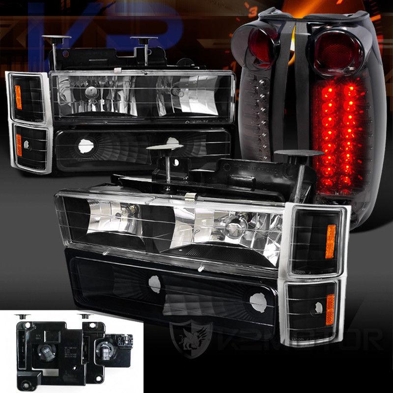 コーナーライト 94-98 Chevy C/K Tahoe Black Headlight Bumper Corner Lamps+Smoke LED Tail Lights 94-98シボレーC / Kタホブラックヘッドライトバンパーコーナーランプ+スモークLEDテールライト