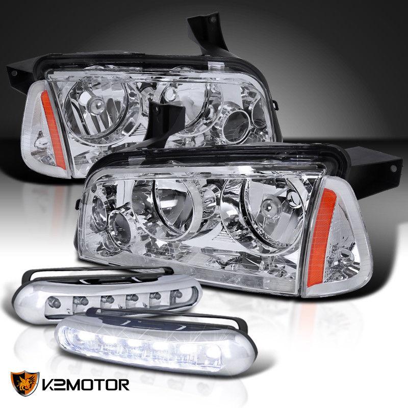 コーナーライト 2006-2010 Dodge Charger Headlights w/ Corner Lights+6-LED Fog Driving Lamps 2006-2010 Dodge Chargerヘッドライト、コーナーライト+ 6-LEDフォグ駆動ランプ