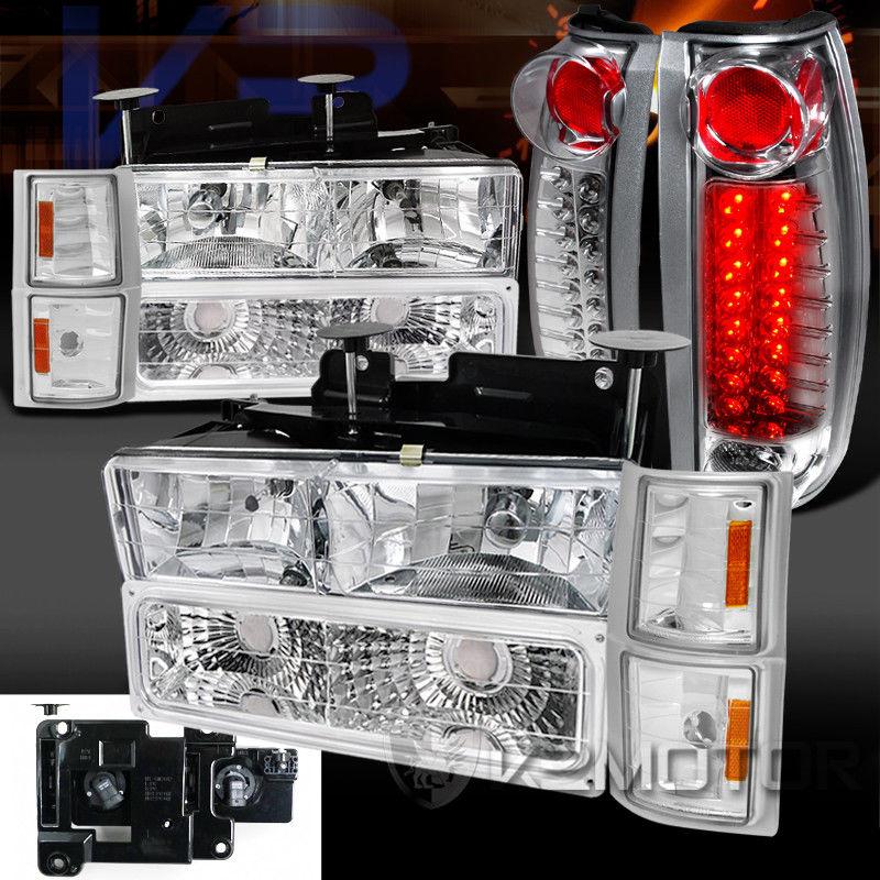 コーナーライト 94-98 Chevy C/K C10 Tahoe Chrome Headlight Bumper Corner Lamps+LED Tail Lights 94-98シボレーC / K C10タホクロームヘッドライトバンパーコーナーランプ+ LEDテールライト