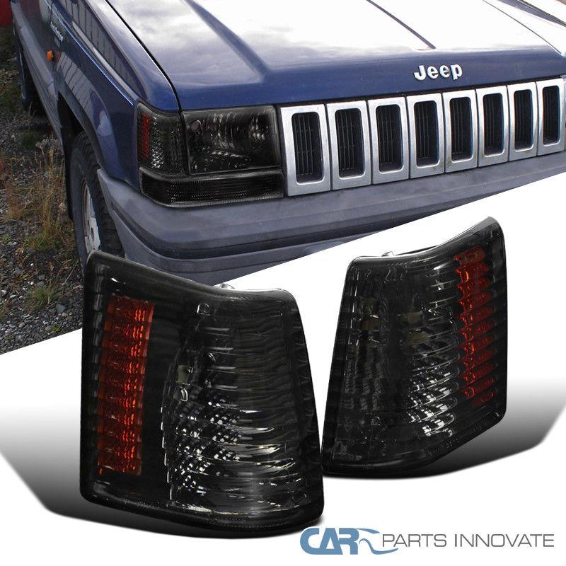 コーナーライト 93-98 Jeep Grand Cherokee Smoke Lens Tinted Corner Lamps Turning Signal Lights 93-98ジープ・グランドチェロキー・スモーク・レンズティアリング・コーナー・ランプ信号灯