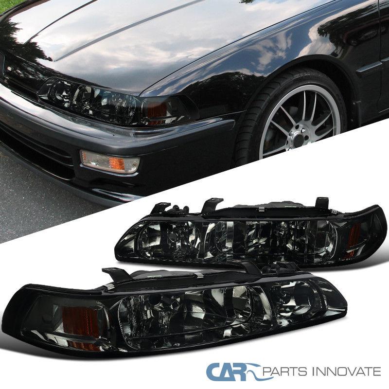 コーナーライト Acura 90-93 Integra 1PC Smoke Lens Headlights Head Lights+Corner Signal Lamps Acura 90-93 Integra 1PCスモークレンズヘッドライトヘッドライト+コーナー信号ランプ