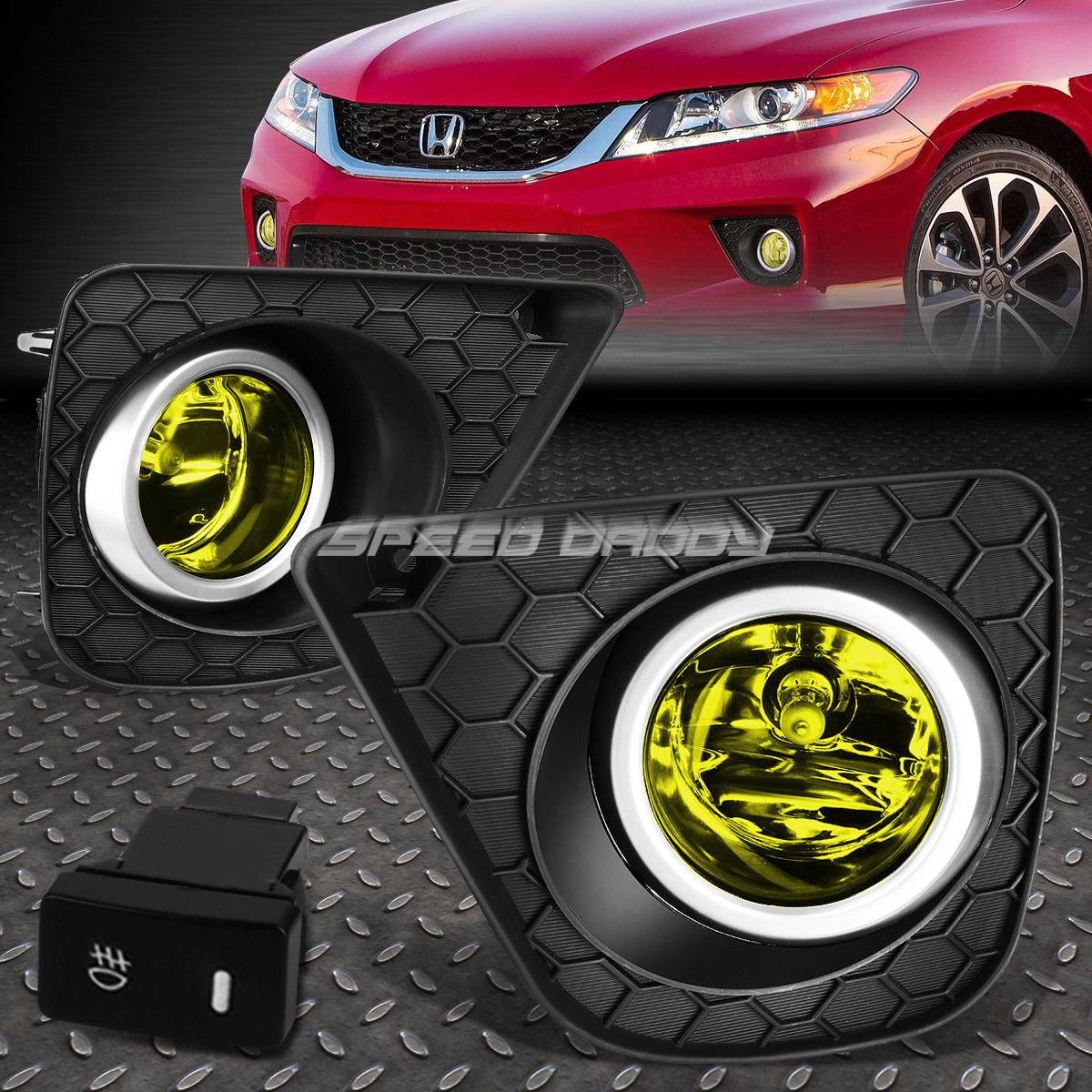 フォグライト FOR 13-15 HONDA ACCORD CT1/CT2 YELLOW LENS OE DRIVING FOG LIGHT LAMP+SWITCH ホーダアコードCT1 / CT2黄色レンズOE駆動フォグライトランプ+スイッチ