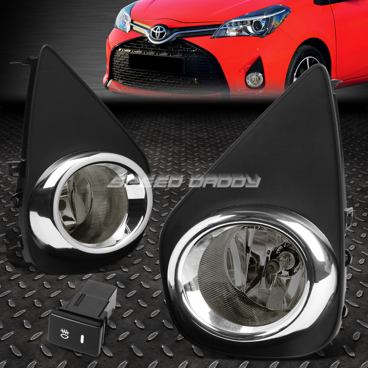 フォグライト FOR 15-16 TOYOTA YARIS XP130 2/3 DR SMOKED LENS OE DRIVING FOG LIGHT LAMP+SWITCH FOR 15-16 TOYOTA YARIS XP130 2/3 DR SMOKED LENS OE DRIVING FOGライトランプ+スイッチ