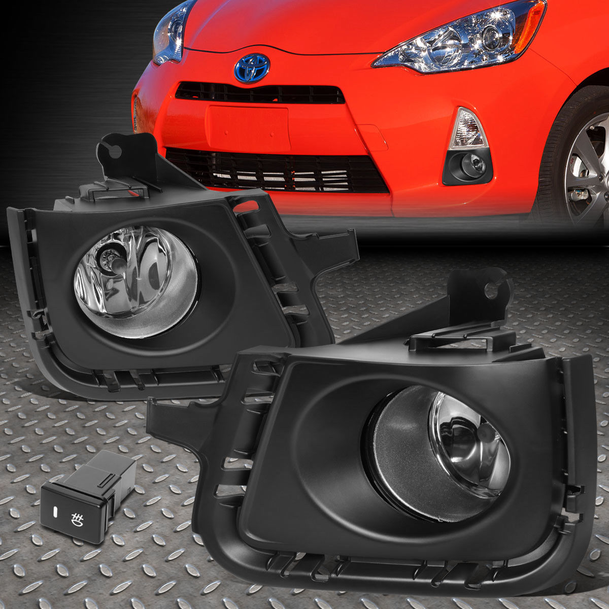 フォグライト FOR 12-14 TOYOTA PRIUS C CLEAR LENS FRONT BUMPER FOG LIGHT/LAMPS W/BEZEL+SWITCH FOR 12-14トヨタプリウスCクリアレンズフロントバンパーフォグライト/ベゼル+スイッチ付ランプ