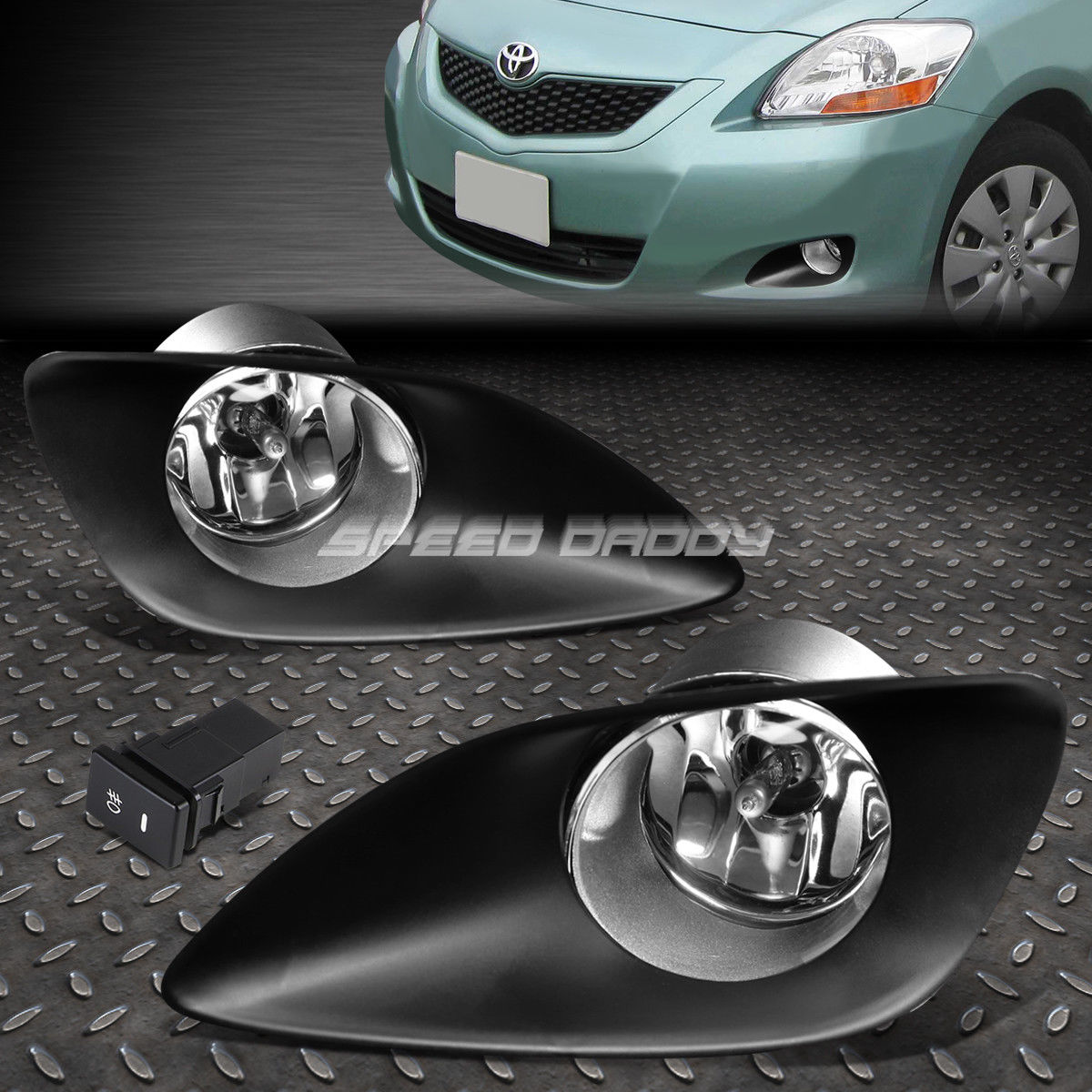フォグライト FOR 06-11 TOYOTA YARIS XP90 4-DOOR CRYSTAL LENS OE DRIVING FOG LIGHT LAMP+SWITCH FOR 06-11 TOYOTA YARIS XP90 4-DOORクリスタルレンズOE駆動フォグライトランプ+スイッチ