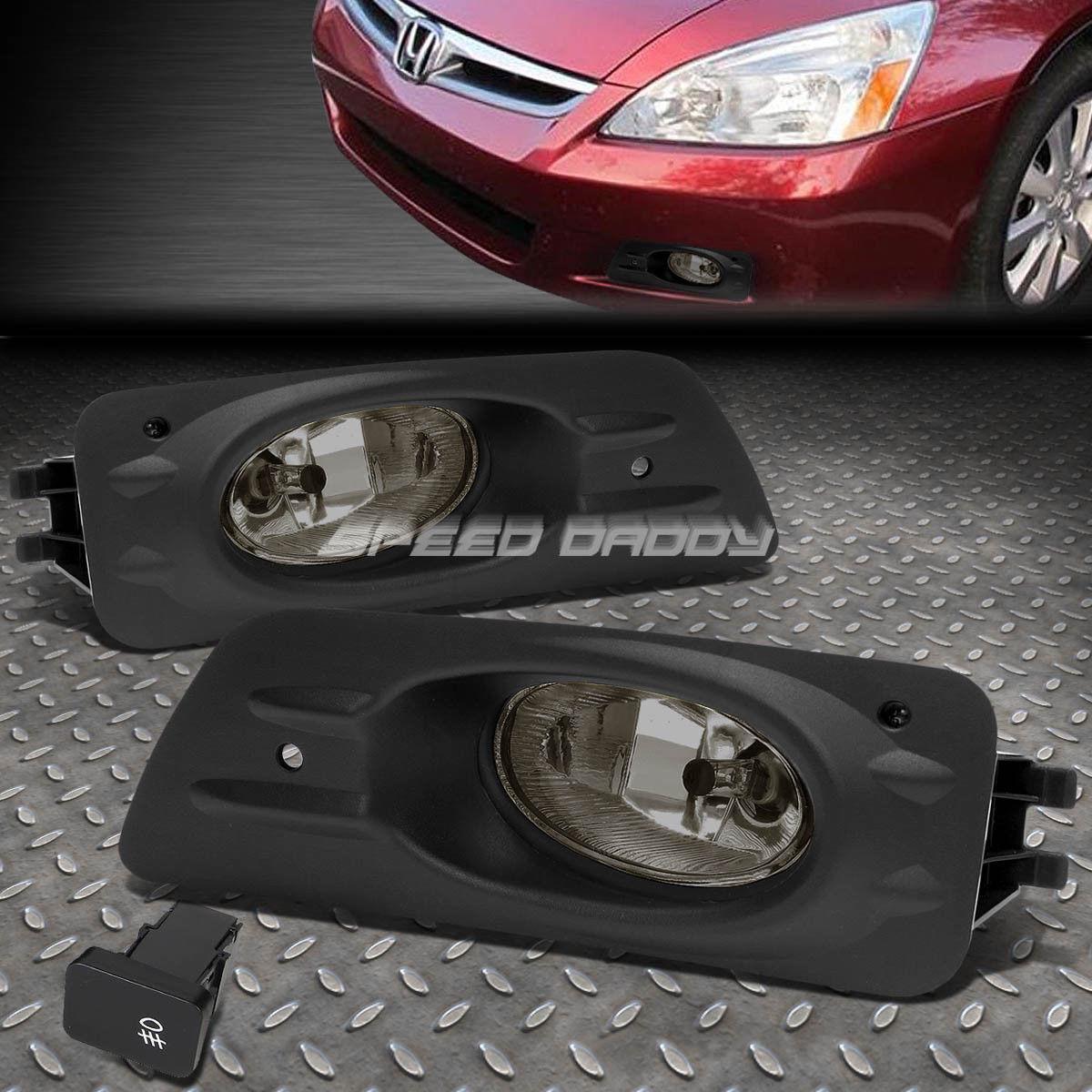 フォグライト FOR HONDA ACCORD 06-07 4DR OE BUMPER SMOKED FOG LIGHT LAMP KIT WITH SWITCH+WIRE ホンダ用アクセサリー06-07 4DR OE BUMPER SMOKED FOGライトランプキット(スイッチ+ワイヤー付)