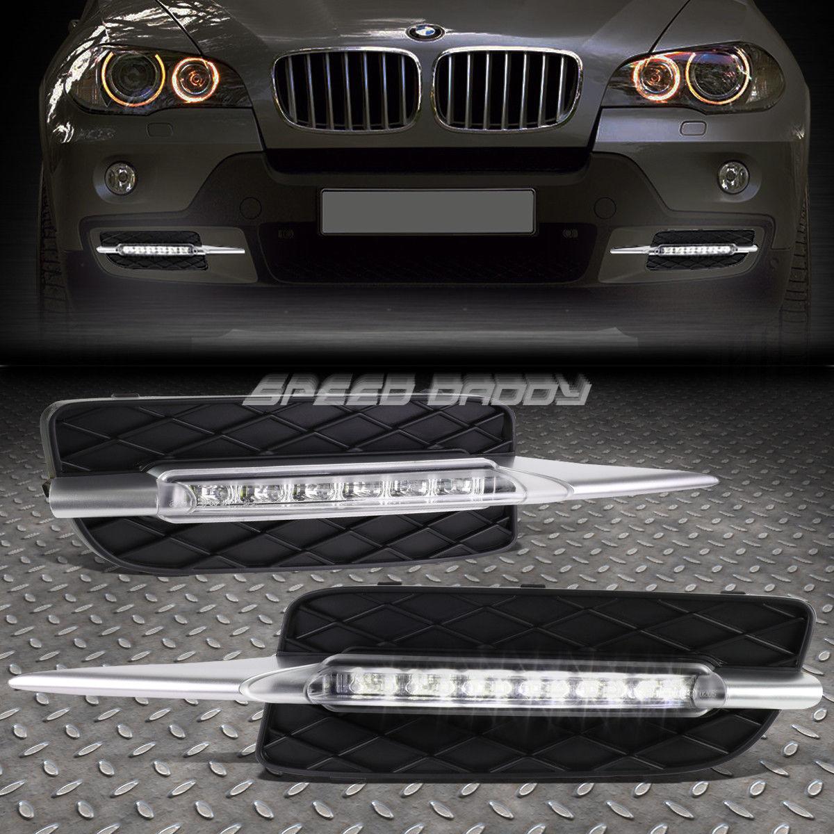 フォグライト FOR 07-10 BMW E70 X5 NON M-SPORT BUMPER FOG GRILL LED DRL DAY TIME RUNNING LIGHT FOR 07-10 BMW E70 X5 N-MスポーツブローカーFOGグリルLED DRL DAY TIME RUNNING LIGHT