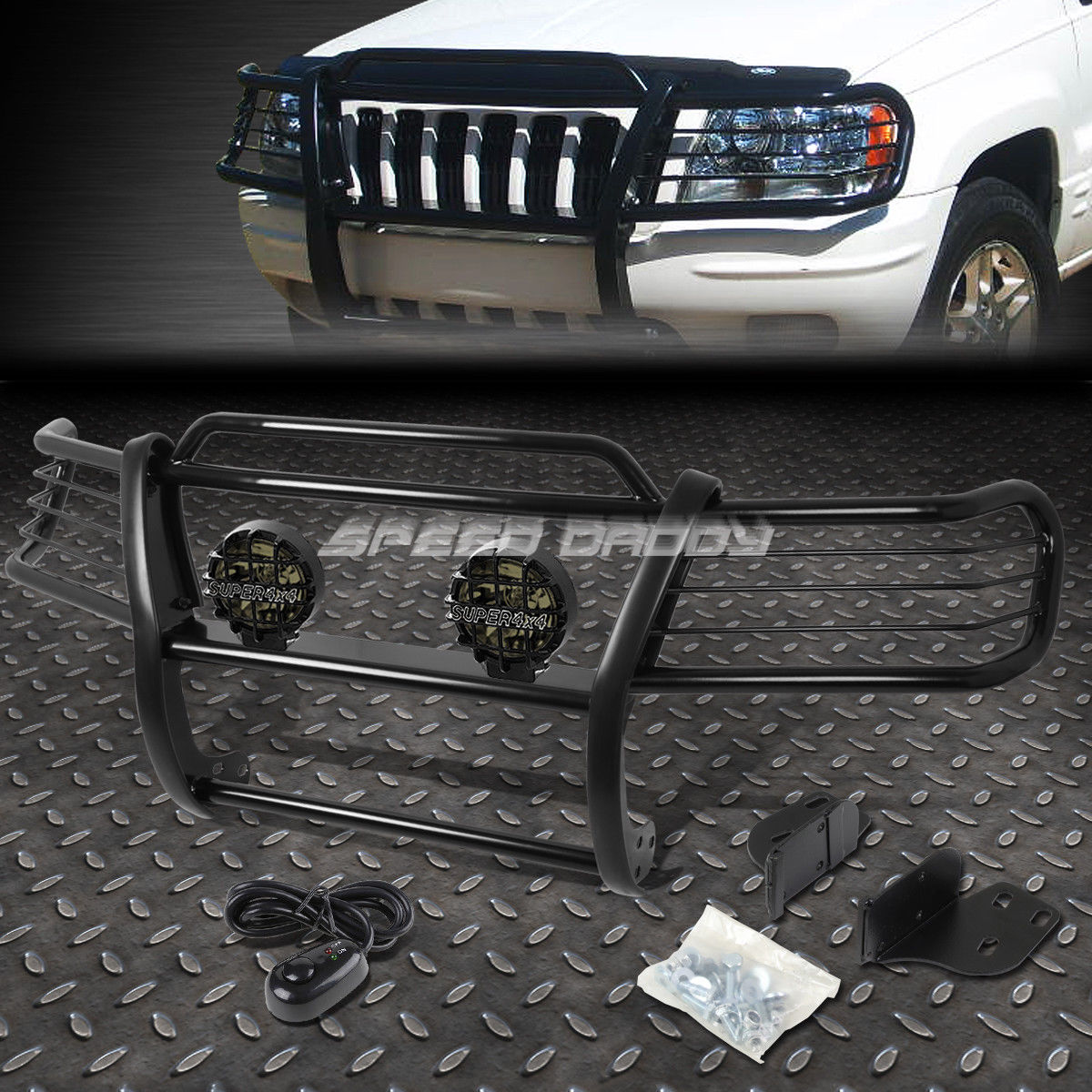 フォグライト BLACK BRUSH GRILL GUARD+ROUND SMOKE FOG LIGHT FOR 99-04 JEEP GRAND CHEROKEE WJ ブラックブラッシュグリルガード+ ROUND SMOKE FOGライトfor 99-04 JEEP GRAND CHEROKEE WJ