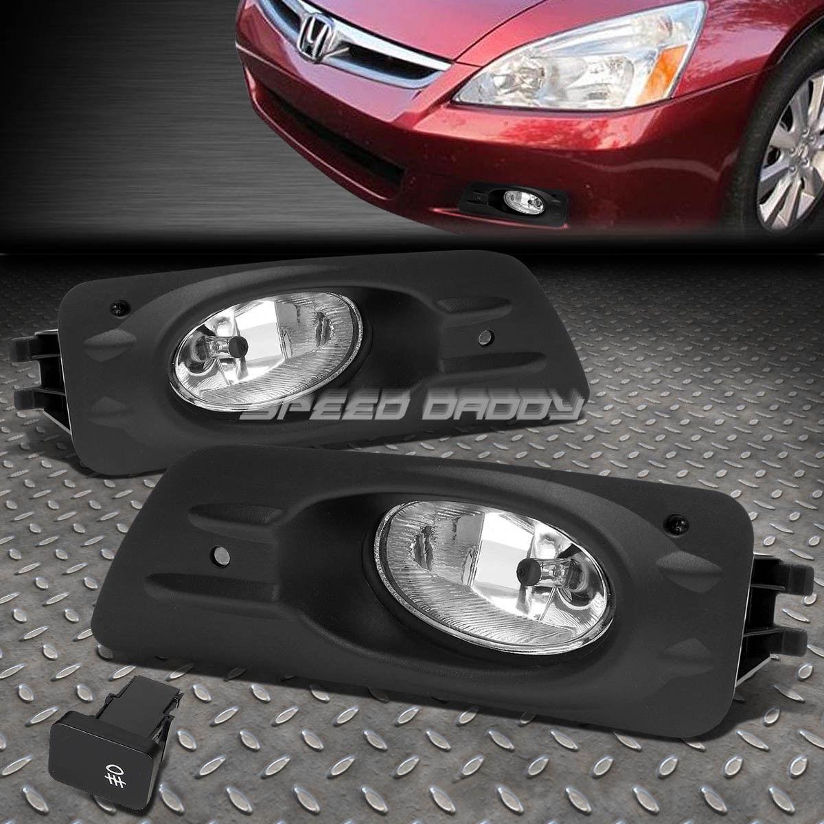 フォグライト FOR HONDA ACCORD 06-07 4DR OE BUMPER CLEAR FOG LIGHT LAMP KIT WITH SWITCH+WIRE ホンダ用アクセサリー06-07 4DR OE BUMPERクリアフォグライトランプキット、スイッチ+ワイヤー