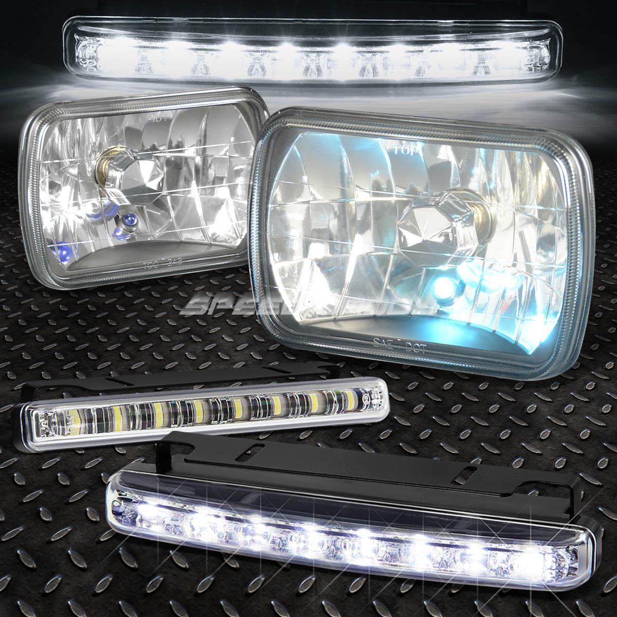 フォグライト 7x6 H6014 DIAMOND CUT SQUARE BLACK CRYSTAL SEMI-SEALED HEAD LIGHT+BULB+LED FOG 7x6 H6014ダイヤモンドカットスクエアブラッククリスタルセミシールヘッドライト+ BULB + LED FOG