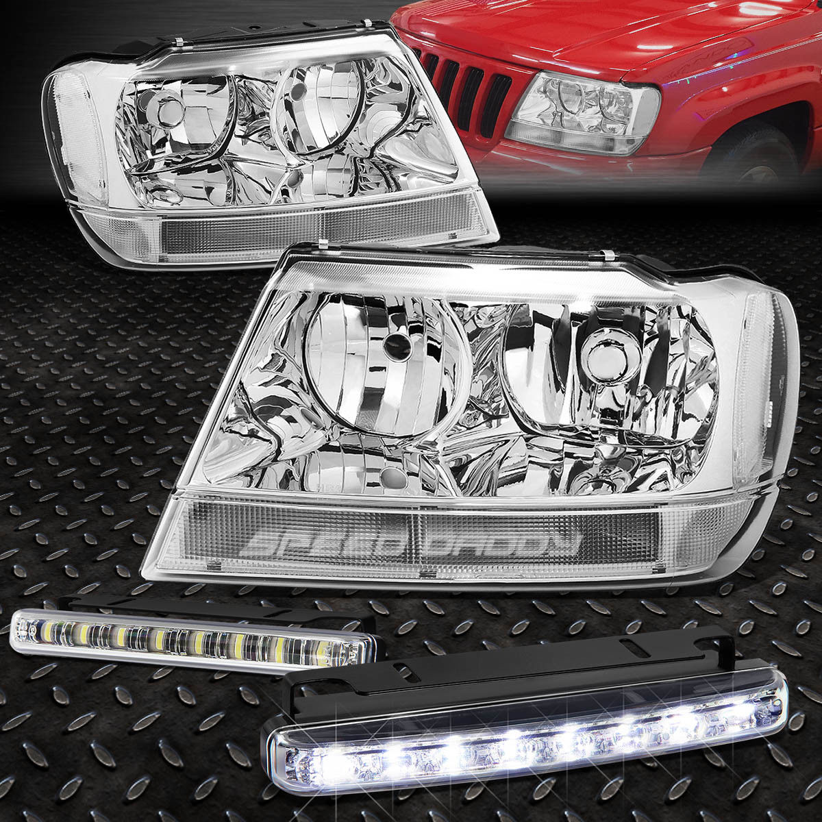 フォグライト CHROME HOUSING CLEAR CORNER HEADLIGHTS+LED FOG LIGHT FOR 99-04 GRAND CHEROKEE WJ CHROME HOUSINGクリアコーナーヘッドライト+ 99-04 GRAND CHEROKEE WJ用LED FOGライト