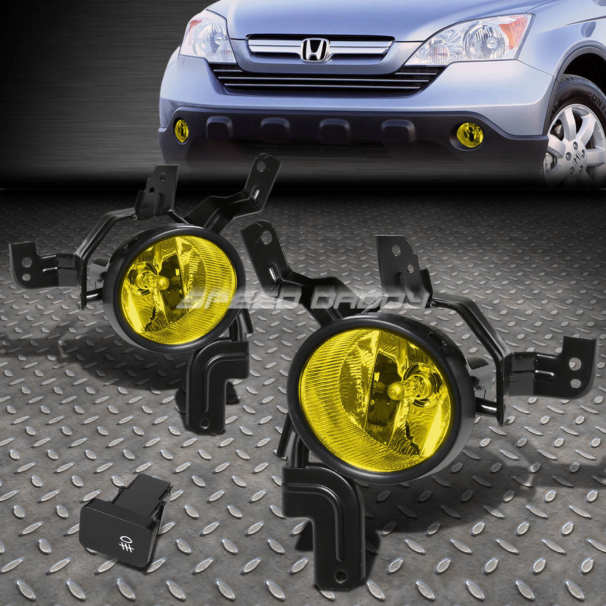 フォグライト FOR 07-09 HONDA CRV LX/EX/SPORT RE YELLOW LENS OE DRIVING FOG LIGHT LAMP+SWITCH FOR 07-09ホンダCRV LX / EX /スポーツライトイエローレンズOE駆動フォグライトランプ+スイッチ