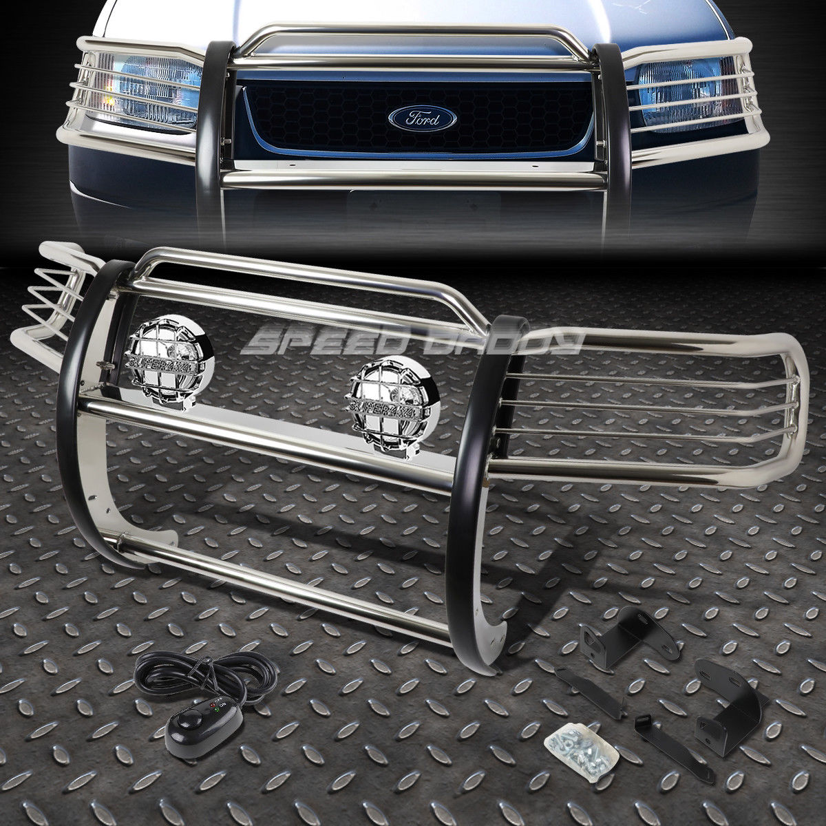 USフォグライト CHROME BRUSH GRILL GUARD+ROUND CLEAR FOG LIGHT FOR 01-04 FORD ESCAPE CD2 SUV CHROME BRUSH GRILL GUARD + 01-04フォードエスケープCD2 SUVのためのクリアクリアフォグライト