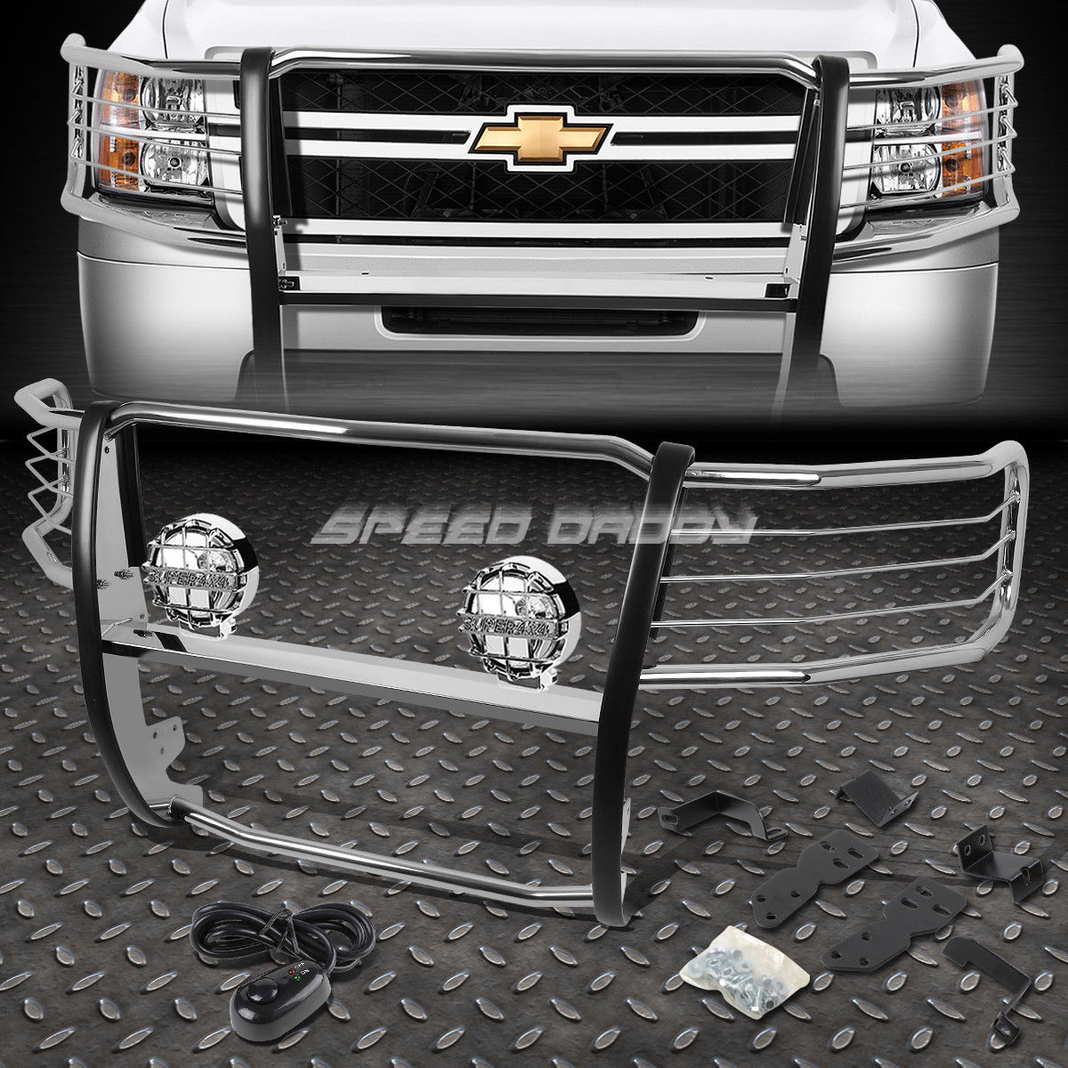 フォグライト CHROME BRUSH GRILL GUARD+ROUND CLEAR FOG LIGHT FOR 07-13 CHEVY SILVERADO 1500 CHROME BRUSH GRILL GUARD + 07-13 CHEVY SILVERADO 1500の丸クリアライト