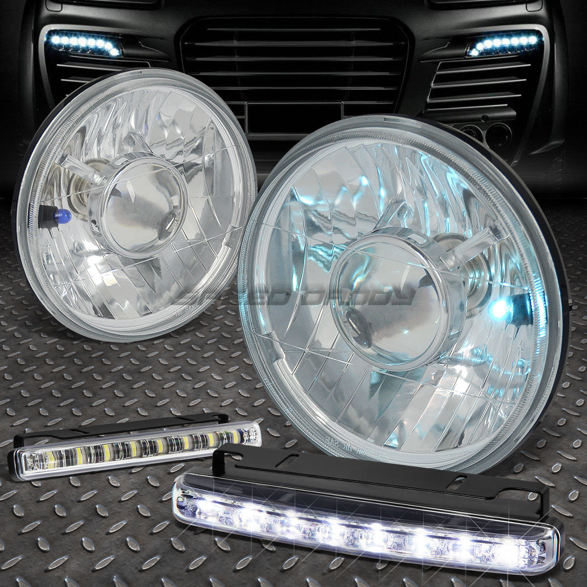 フォグライト ROUNDED CLEAR LENS PROJECTOR HEADLIGHT+8 LED GRILL FOG LIGHT FOR 7