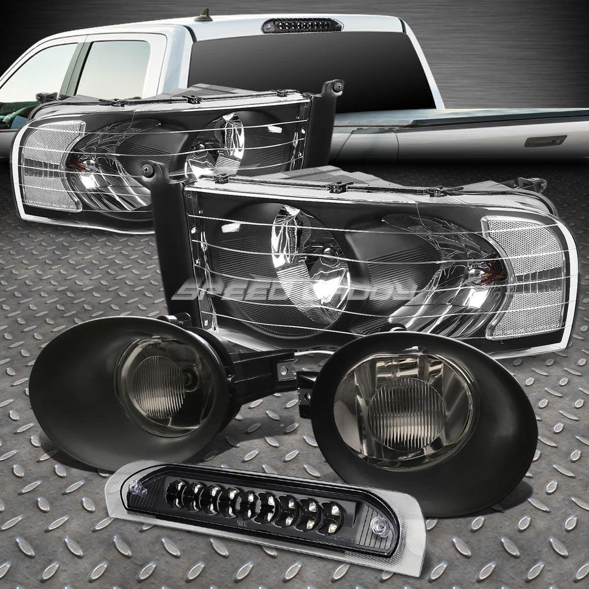 フォグライト BLACK HEAD LIGHT+LED 3RD BRAKE+SMOKED FOG LAMPS+WIRING KIT FOR 02-05 DODGE RAM BLACK HEAD LIGHT + LED 3RD BRAKE + SMOOKED FOG LAMPS + 02-05 DODGE RAM用ワイヤーキット