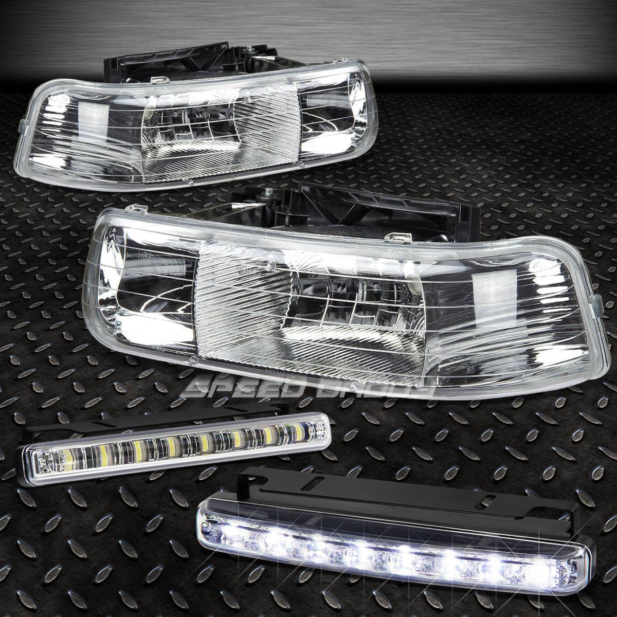 フォグライト HEADLIGHT/LAMP CLEAR LENS CHROME HOUSING+LED FOG LIGHT FITS 99-02 SILVERADO ヘッドライト/ランプクリアレンズCHROME HOUSING + LED FOGライトフィット99-02 SILVERADO