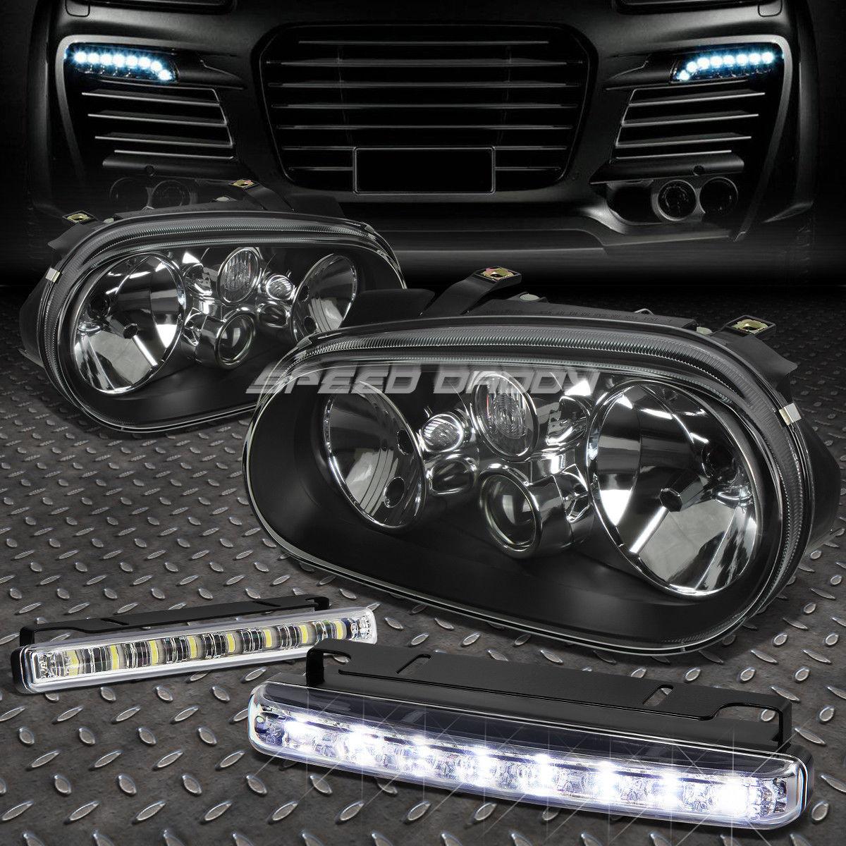 フォグライト BLACK HOUSING CLEAR LENS HEADLIGHT+8 LED GRILL FOG LIGHT FOR 99-06 GOLF MK4 BLACK HOUSINGクリアレンズヘッドライト+ 99-06ゴルフMK4用8 LEDグリルフォグライト