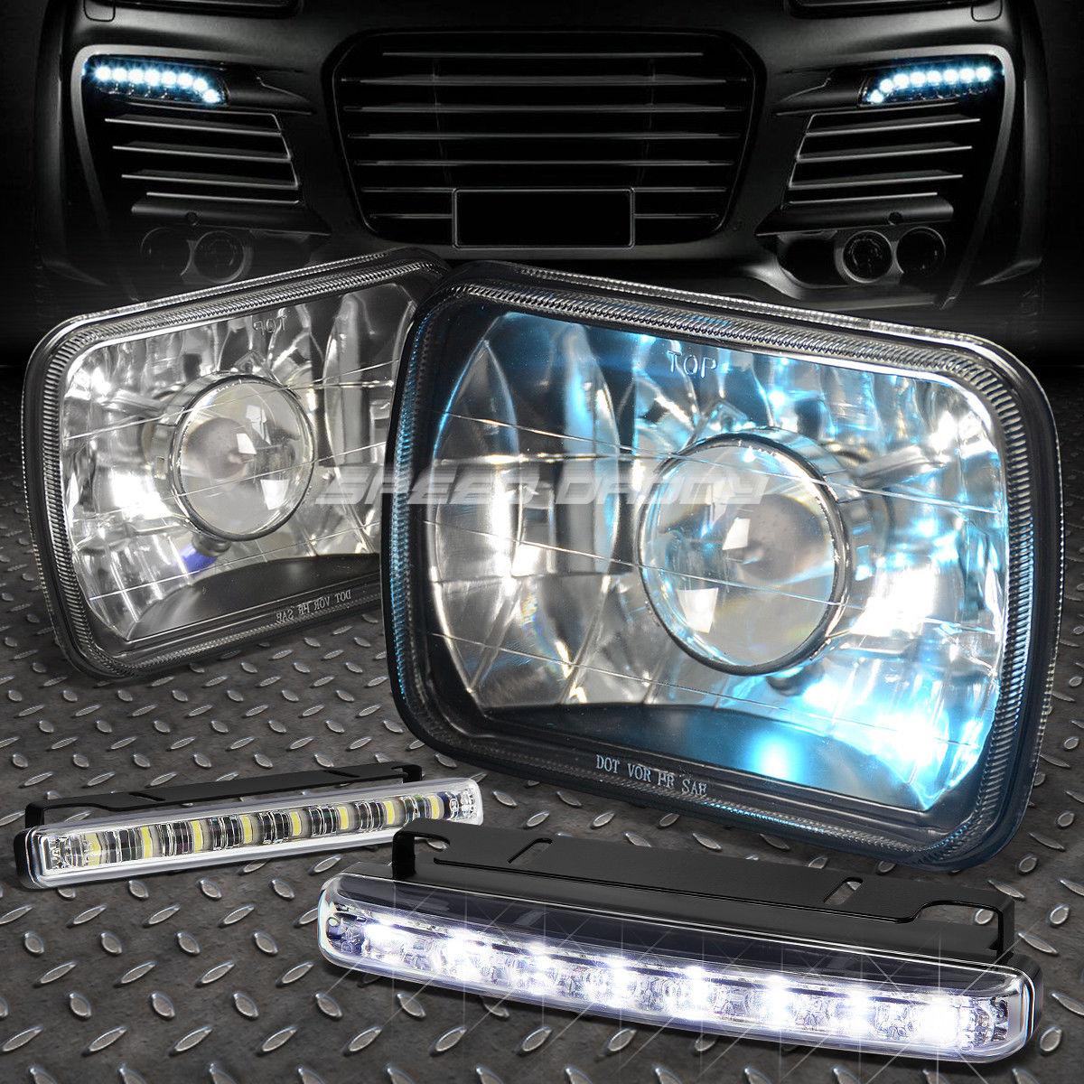 フォグライト 7x6 SQUARE BLACK PROJECTOR GLASS HEADLIGHT+8 LED GRILL FOG LIGHT FOR NISSAN 7×6スクエアブラックプロジェクターガラスヘッドライト+ 8日射霧ライト