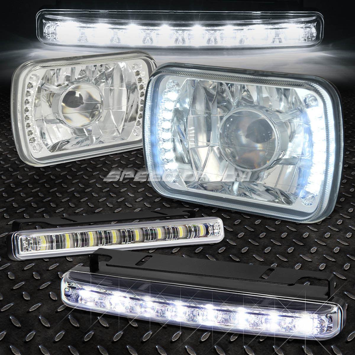 フォグライト 7x6 H6014 SQUARE LED PROJECTOR CHROME CLEAR SEMI-SEALED HEAD LIGHT+BULB+DRL FOG 7x6 H6014スクエアLEDプロジェクタークロムクリアセミシールヘッドライト+ BULB + DRL FOG