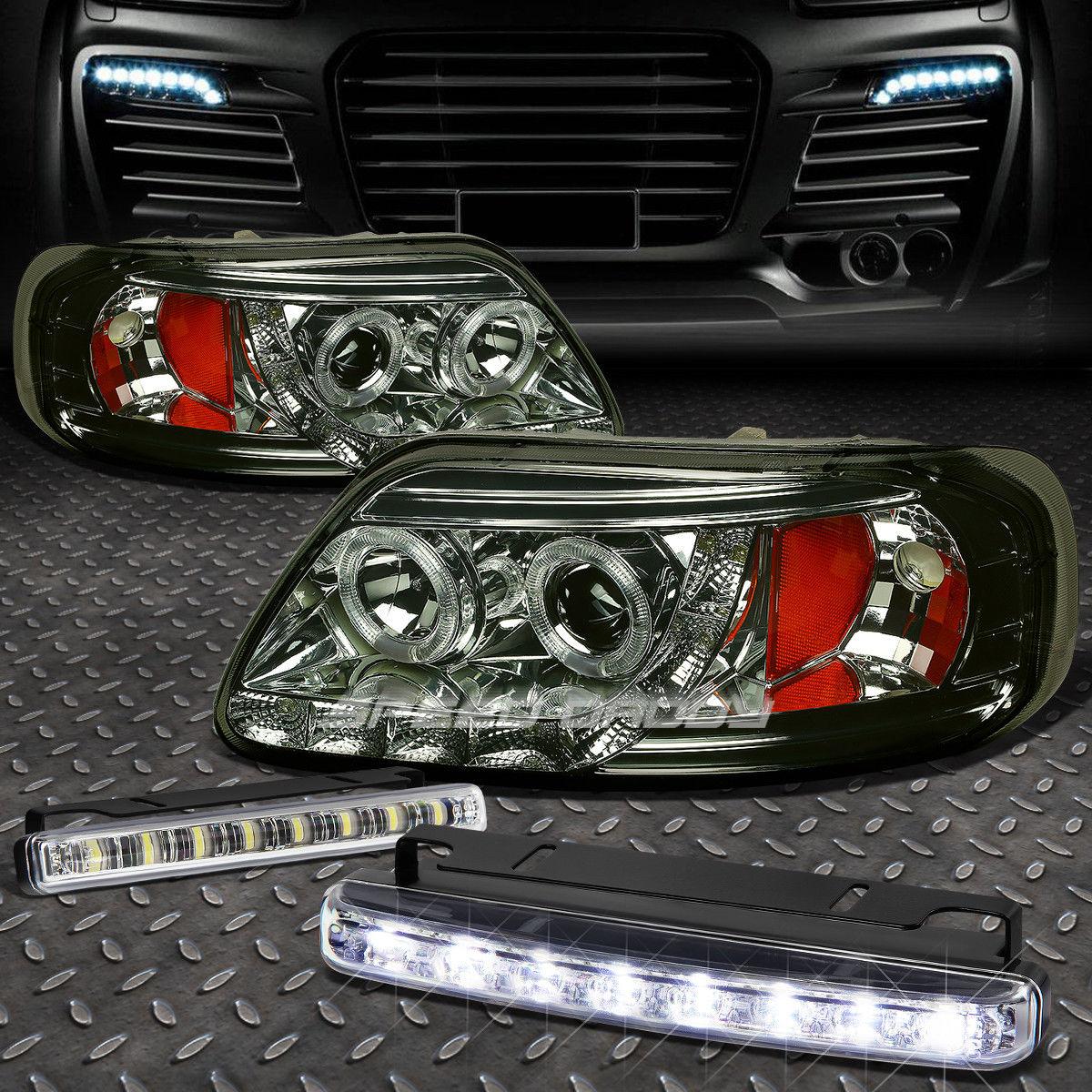 フォグライト SMOKED AMBER HALO PROJECTOR 1PC HEADLIGHT+8 LED GRILL FOG LIGHT FOR 97-03 F150 SMOKEDアンバーハロープロジェクター1PCヘッドライト+ 8 LEDグリルフォグライト97-03 F150用