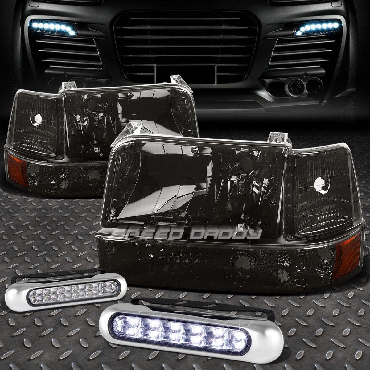 フォグライト SMOKED LENS HEADLIGHT AMBER CORNER+12 LED GRILL FOG LIGHT FOR 92-96 F-SERIES SMOKED LENS HEADLIGHTアンバーコーナー+ 92-96 Fシリーズ用LEDグリルフォグライト12