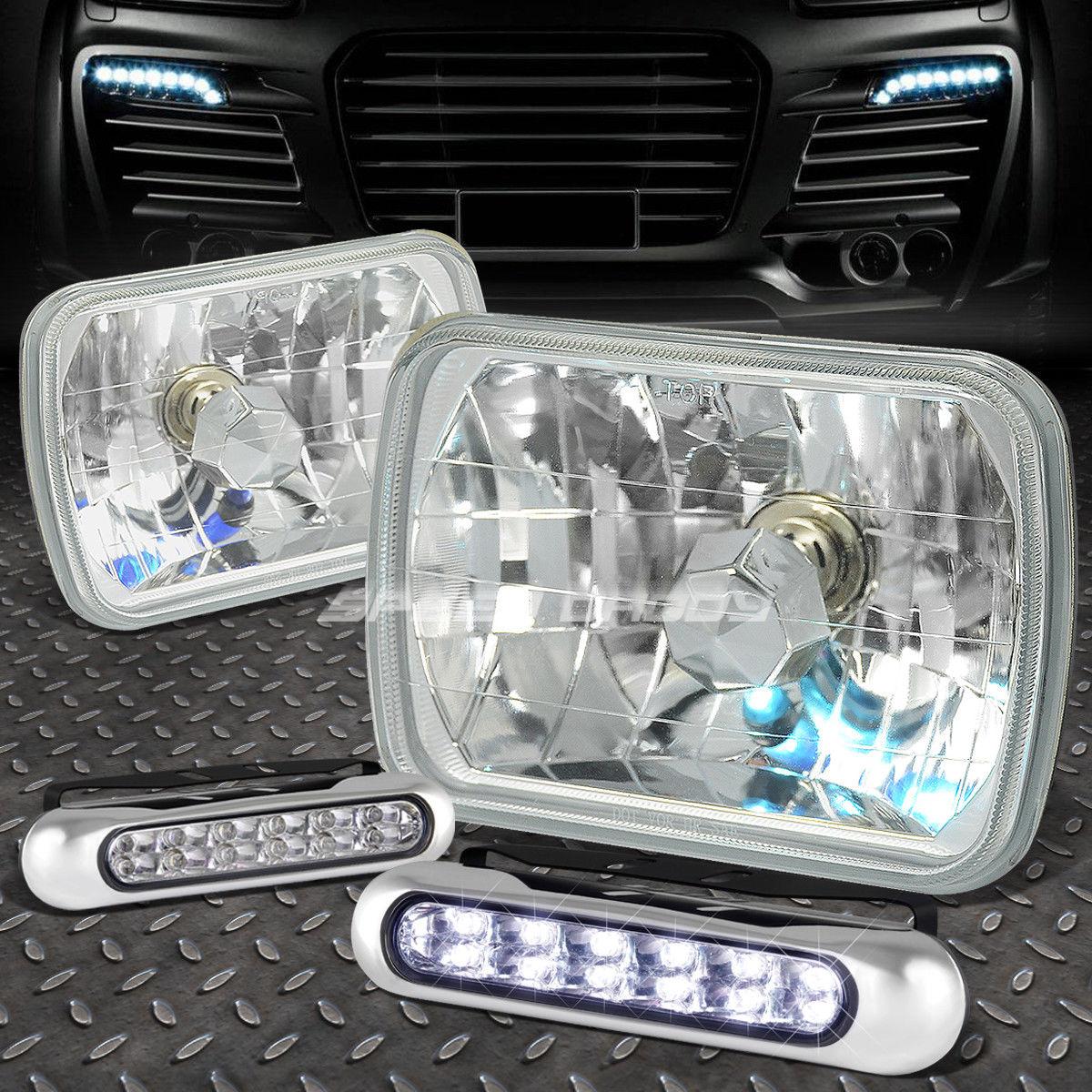 フォグライト CLEAR SQUARE DIAMOND PROJECTOR HEADLIGHT+12 LED GRILL FOG LIGHT FOR 7X6 H6054 クリアスクエアダイヤモンドプロジェクターヘッドライト+ 7X6 H6054用LEDグリルフォグライト12
