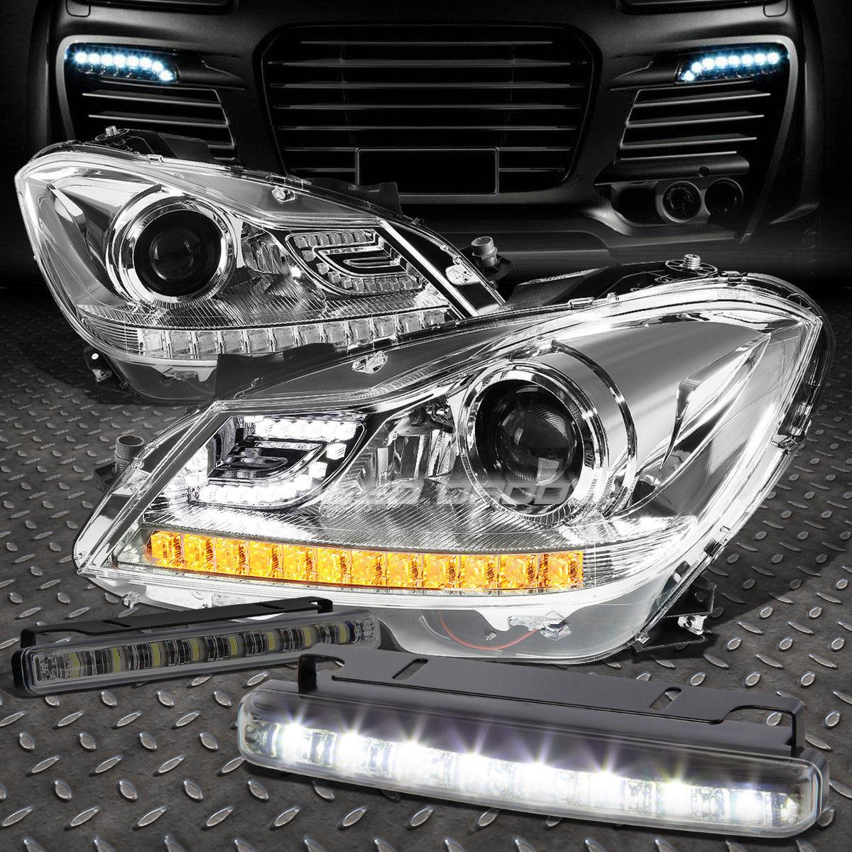 フォグライト CHROME HALO PROJECTOR HEADLIGHT+8 LED SMOKE FOG LIGHT FOR 12-14 C-CLASS W204 クロームハロープロジェクターヘッドライト+ 8個のLED煙霧ライト12-14 CクラスW204用