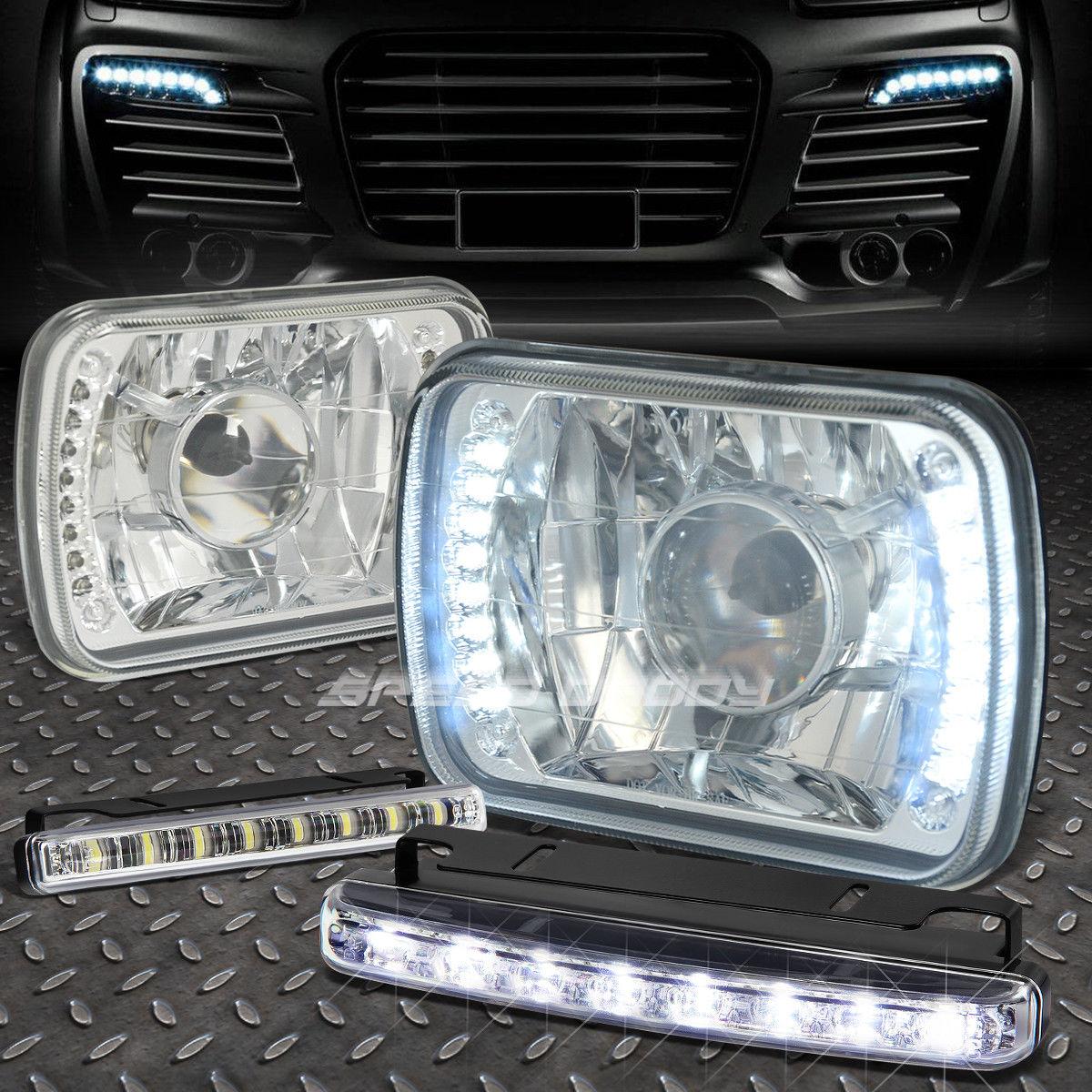 フォグライト 7x6 SQUARE CHROME PROJECTOR GLASS HEADLIGHT+8 LED GRILL FOG LIGHT FOR NISSAN 7x6スクエアクロームプロジェクターガラスヘッドライト+日産用8 LEDグリルフォグライト