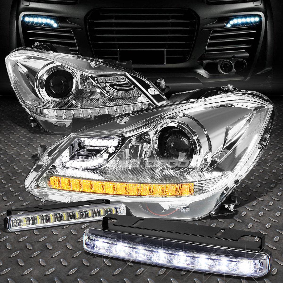 フォグライト CHROME HALO PROJECTOR HEADLIGHT+8 LED GRILL FOG LIGHT FOR 12-14 C-CLASS W204 クロームハロープロジェクターヘッドライト+ 12-14クラスW204のための8 LEDグリルフォグライト