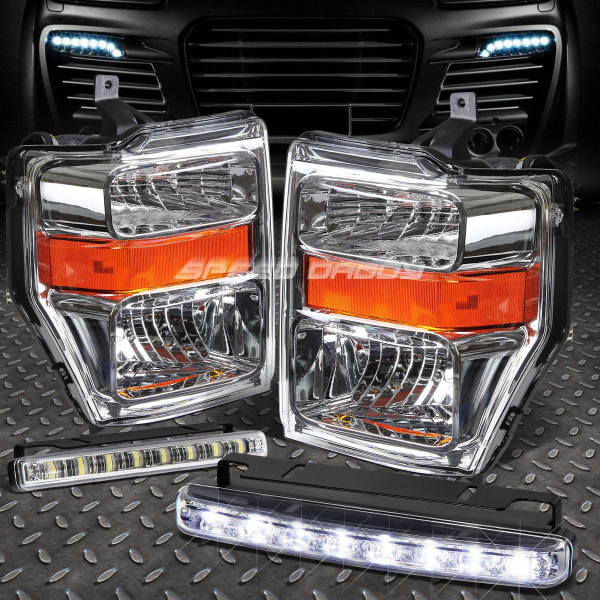 フォグライト CHROME LENS HEADLIGHT AMBER CORNER+8 LED GRILL FOG LIGHT FOR 08-10 SUPERDUTY CHROME LENS HEADLIGHTアンバーコーナー+ 8-10グリルフォグライト08-10 SUPERDUTY