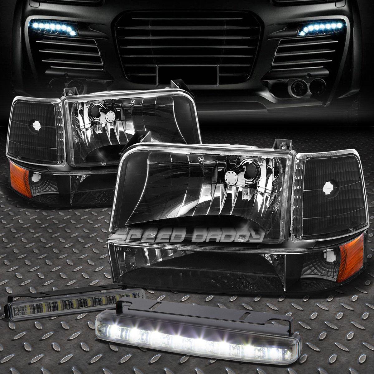 フォグライト BLACK LENS HEADLIGHT AMBER CORNER+8 LED SMOKE FOG LIGHT FOR 92-96 F-SERIES ブラックレンズヘッドライトアンバーコーナー+ 92-96 Fシリーズ用8個のLED煙霧ライト