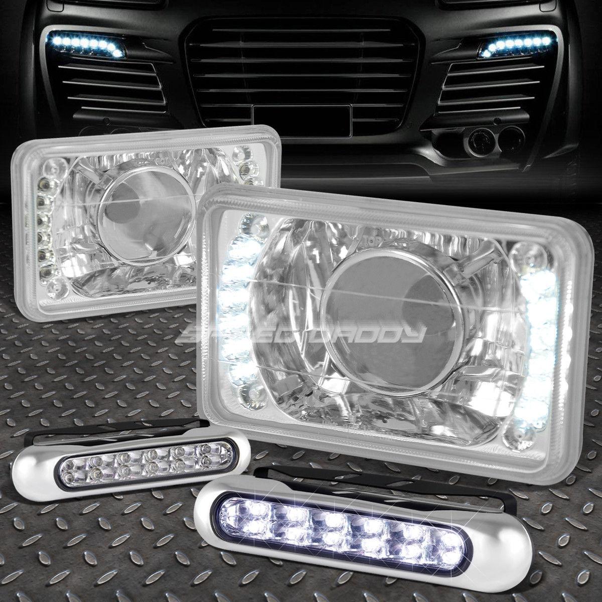 フォグライト 4x6 SQUARE CHROME PROJECTOR LED HEADLIGHT+12 LED GRILL FOG LIGHT FOR VW/NISSAN 4x6スクエアクロームプロジェクターLEDヘッドライト+ VW /日産用LEDグリルフォグライト12