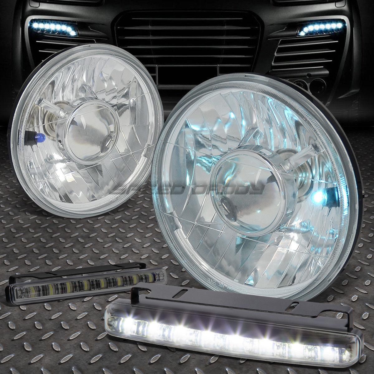 フォグライト SQUARE CLEAR LENS DIAMOND HEADLIGHT LAMP+8 LED SMOKE FOG LIGHT FOR 7X6 H6017 正方形のクリアレンズのLEDヘッドライトランプ+ 7×6のH6017のための8個のLED煙霧ライト