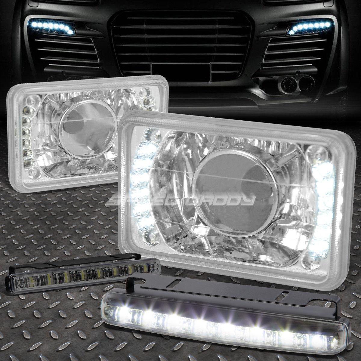 フォグライト 4x6 SQUARE CHROME PROJECTOR LED HEADLIGHT+8 LED SMOKE FOG LIGHT FOR VW/NISSAN 4x6スクエアクロームプロジェクターLEDヘッドライト+ VW / NISSAN用8 LED SMOKE FOGライト