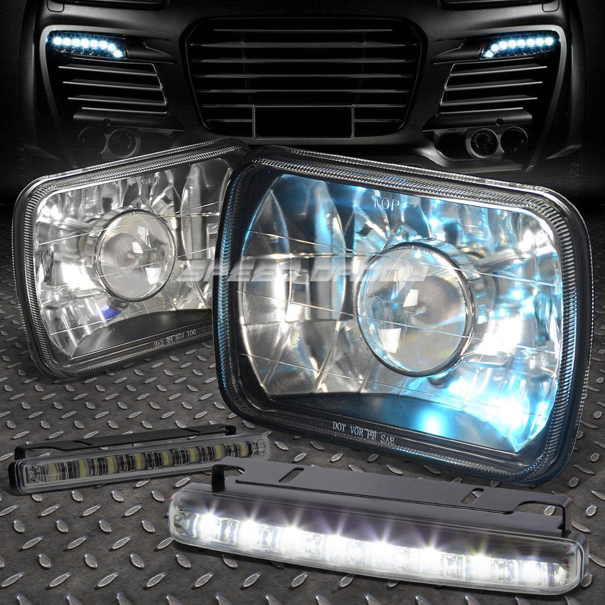 フォグライト 7x6 SQUARE BLACK PROJECTOR GLASS HEADLIGHT+8 LED SMOKE FOG LIGHT FOR NISSAN 7×6スクエアブラックプロジェクターガラスヘッドライト+ 8日産用LED SMOKE FOGライト