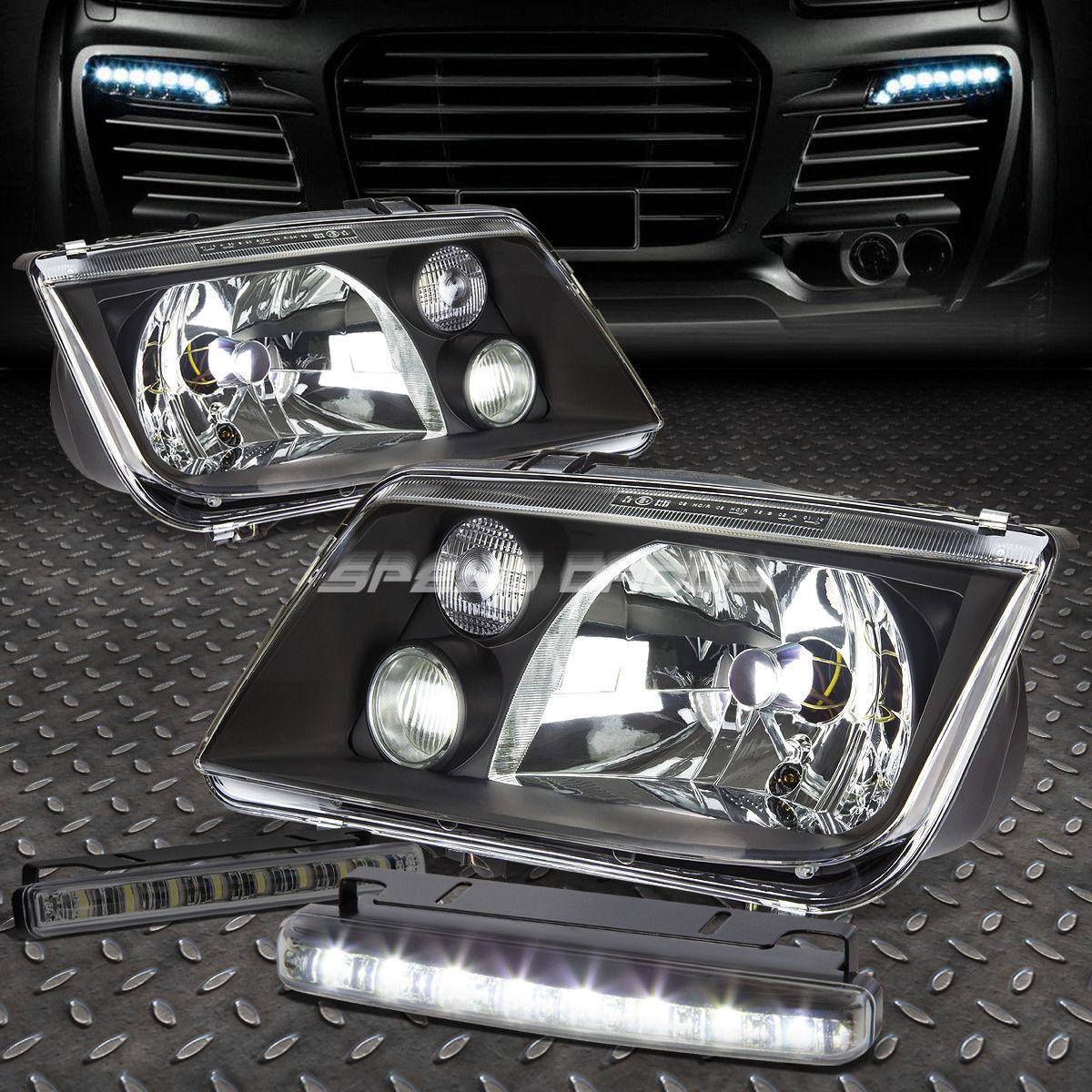 フォグライト BLACK HOUSING HEADLIGHT LAMP+8 LED SMOKE FOG LIGHT FOR 99-05 VW JETTA/BORA BLACK HOUSING HEADLIGHT LAMP + JETTA / BORA 99-05 VWのための8つのLED SMOKE FOGライト