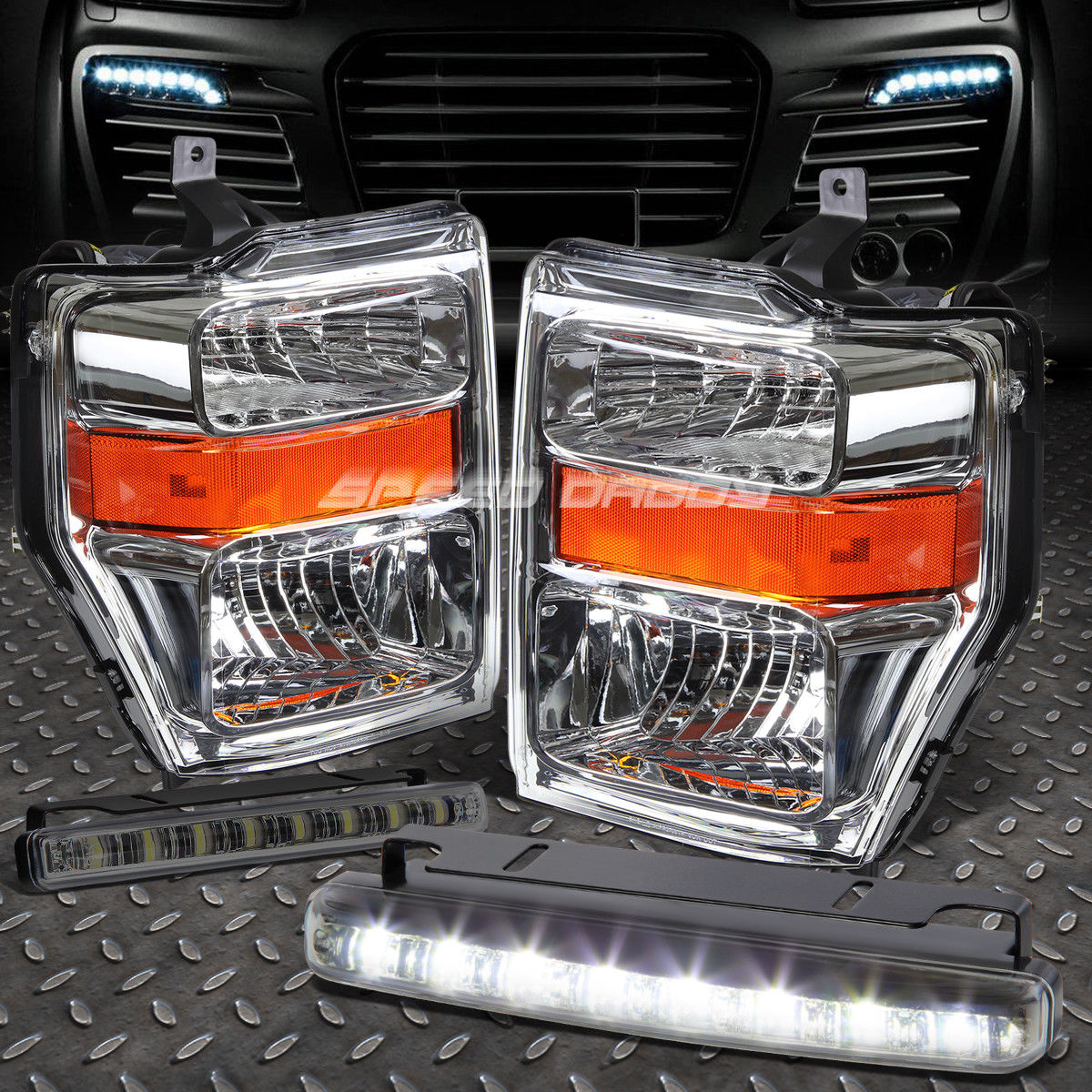 フォグライト CHROME LENS HEADLIGHT AMBER CORNER+8 LED SMOKE FOG LIGHT FOR 08-10 SUPERDUTY CHROMEレンズヘッドライトアンバーコーナー+ 8個のLED SMOKE FOGライト08-10 SUPERDUTY