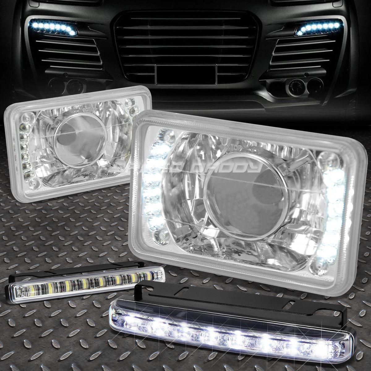 フォグライト 4x6 SQUARE CHROME PROJECTOR LED HEADLIGHT+8 LED GRILL FOG LIGHT FOR CADILAC/GMC 4x6スクエアクロームプロジェクターLEDヘッドライト+ 8 LEDグリッドフォグライト/ CADILLAC / GMC