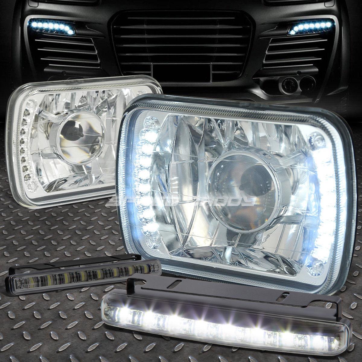 フォグライト SQUARE CHROME PROJECTOR LED HEADLIGHT+8 LED SMOKE FOG LIGHT FOR H6014/H6054 正方形のクロームプロジェクターLEDヘッドライト+ H6014 / H6054のための8つのLED SMOKE FOGライト