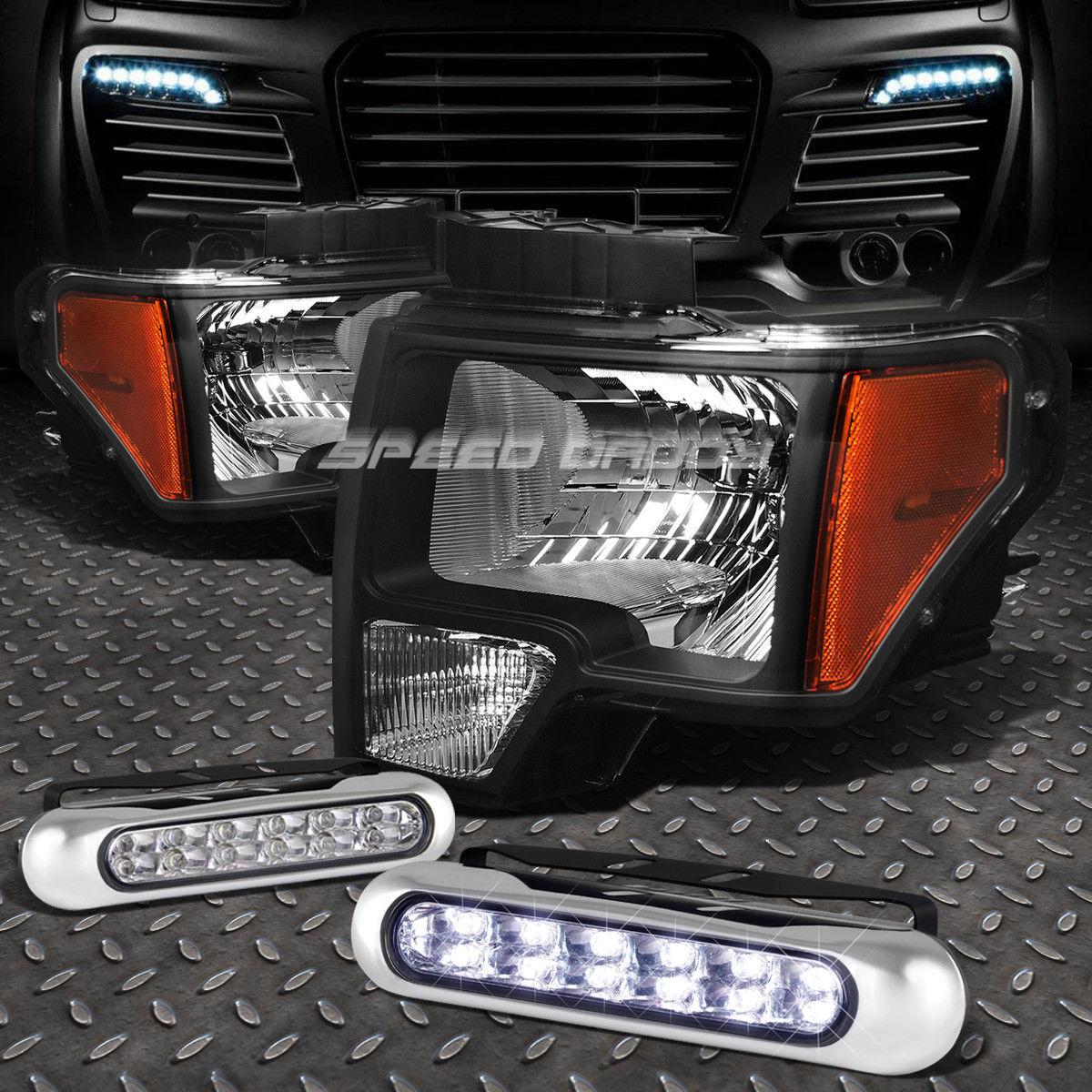 フォグライト BLACK HOUSING HEADLIGHT AMBER CORNER+12 LED GRILL FOG LIGHT FOR 09-14 FORD F150 ブラックハウジングヘッドライトアンバーコーナー+ 09-14フォードF150用12グリルフォグライト