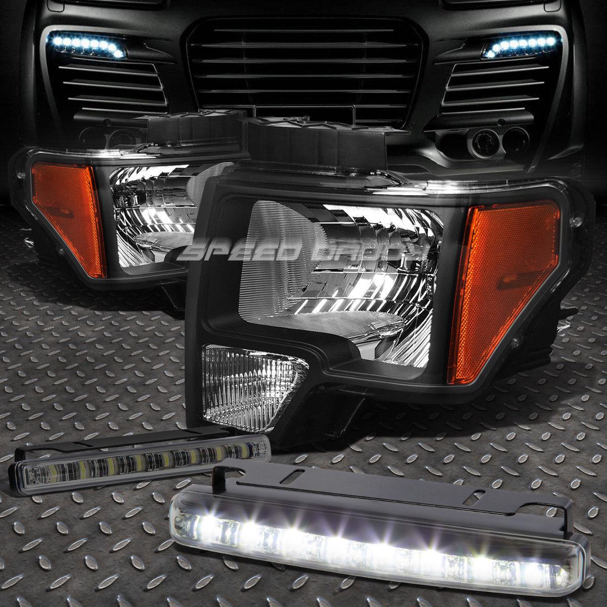 フォグライト BLACK HOUSING HEADLIGHT AMBER CORNER+8 LED SMOKE FOG LIGHT FOR 09-14 FORD F150 ブラックハウジングヘッドライトアバナーコーナー+ 8個のLED SMOKE FOGライト(09-14フォードF150用)
