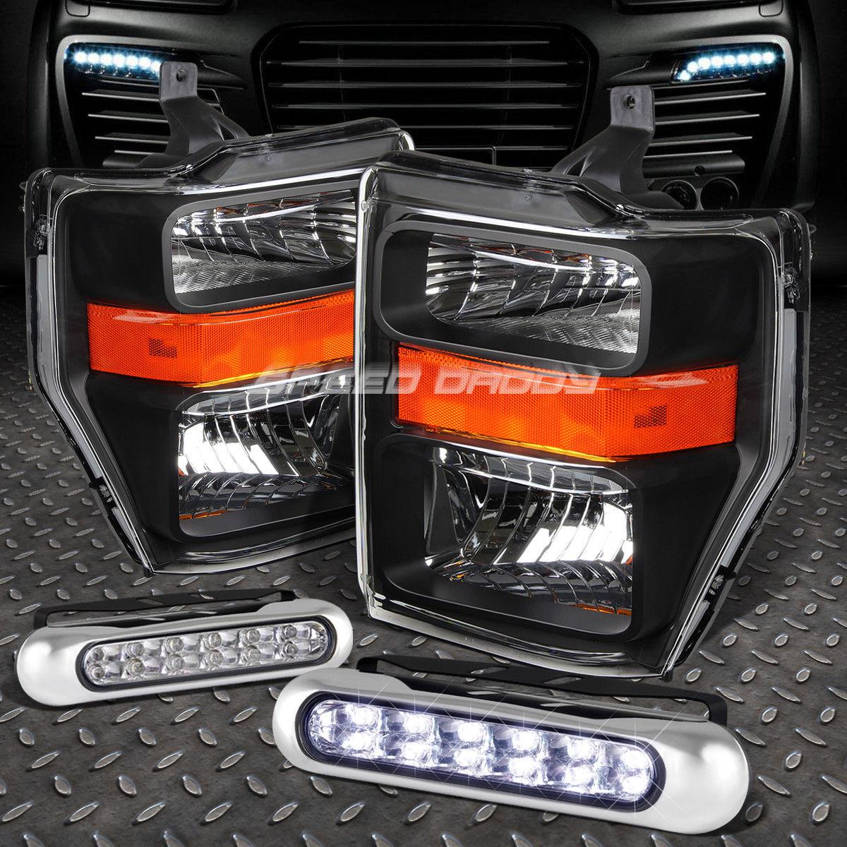 フォグライト BLACK HOUSING HEADLIGHT AMBER CORNER+12 LED GRILL FOG LIGHT FOR 08-10 SUPERDUTY ブラックハウジングヘッドライトアンバーコーナー+ 08-10スーパーライト用12グリルフォグライト
