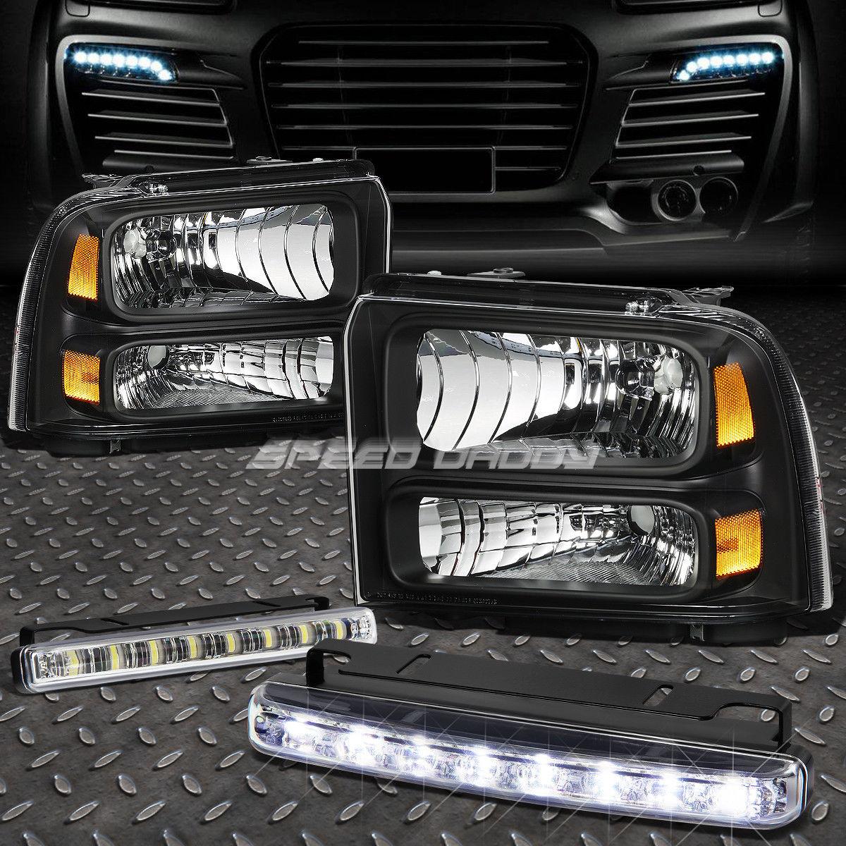 フォグライト BLACK HOUSING HEADLIGHT AMBER CORNER+8 LED GRILL FOG LIGHT FOR 05-07 SUPERDUTY ブラックハウジングヘッドライトアンバーコーナー+05-07スーパーライトのための8 LEDグリルフォグライト