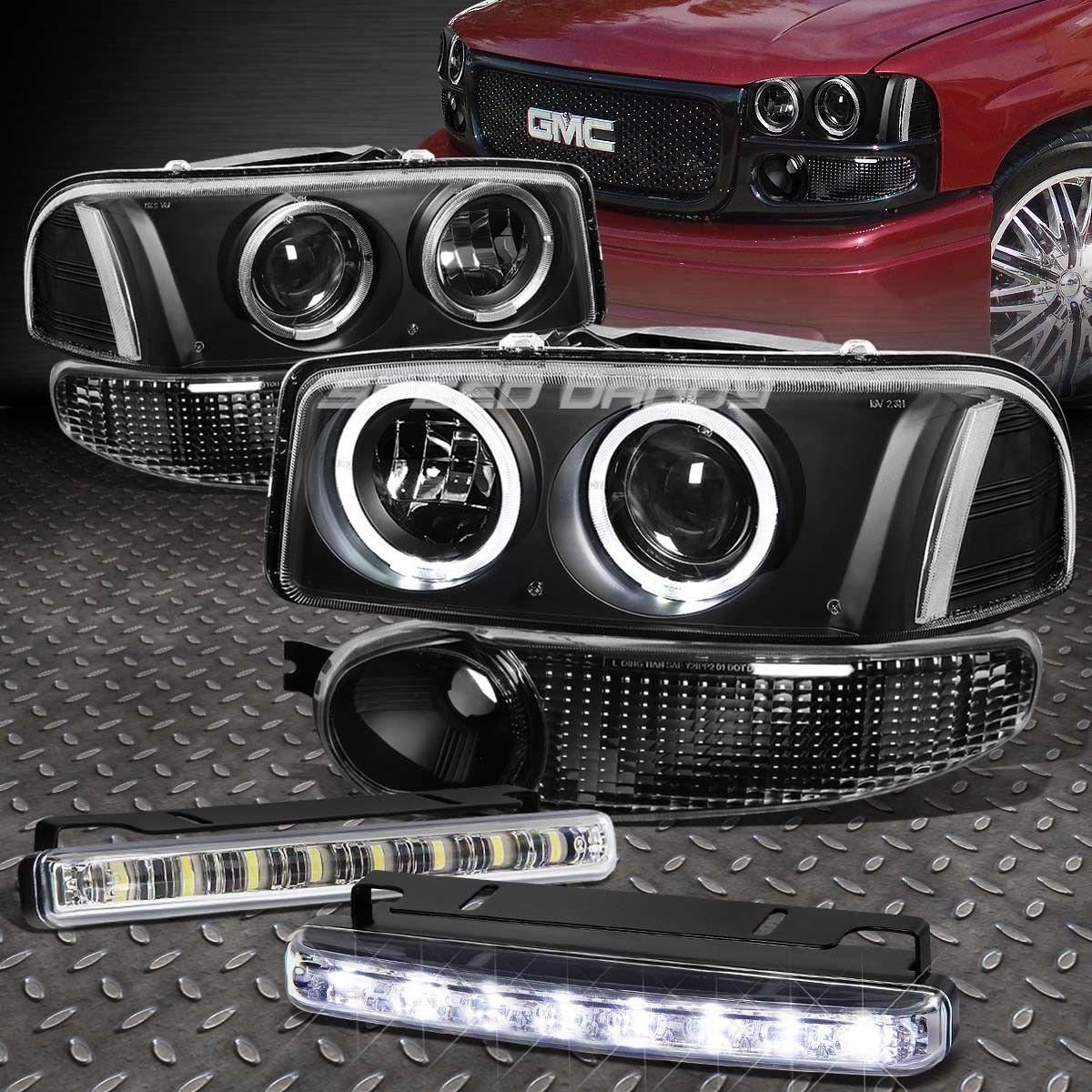 フォグライト BLACK/CLEAR DUAL HALO PROJECTOR HEADLIGHT+LED FOG LIGHT FOR 00-07 SIERRA DENALI ブラック/クリアデュアルハロープロジェクターヘッドライト+ LED FOGライト、00?07シエラデナリ